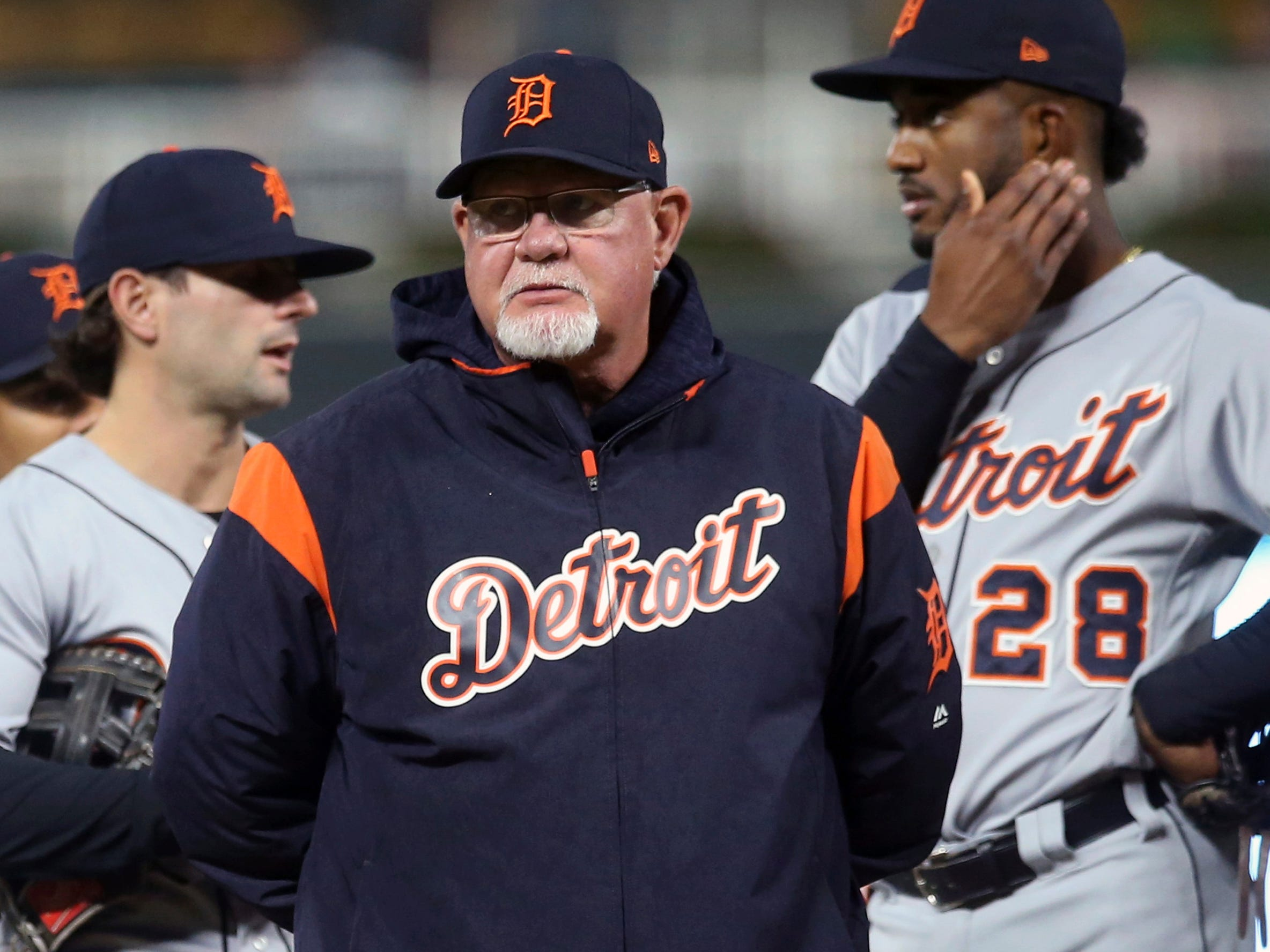 Detroit Tigers manager Ron Gardenhire watches as pitcher Francisco Liriano leaves the game in the third inning against the Minnesota Twins, Thursday, Sept. 27, 2018, in Minneapolis.