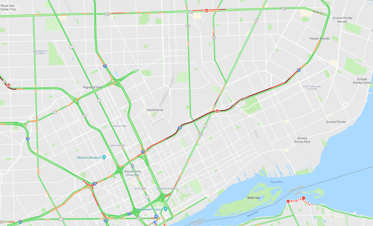 A Google Maps image shows traffic backed up from I-94 at Cadieux to Brush Street.