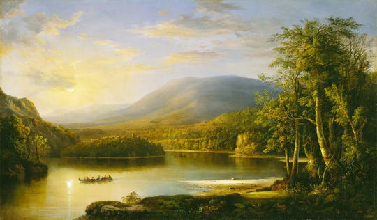 """Ellen's Isle, Loch Katrine"""" (1871) by Robert S. Duncanson"""