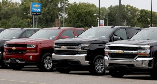 2018 and 2019 Chevrolet Silverados are in the lot at George Matick Chevrolet on  in Redford Township on Thursday, September 27, 2018.