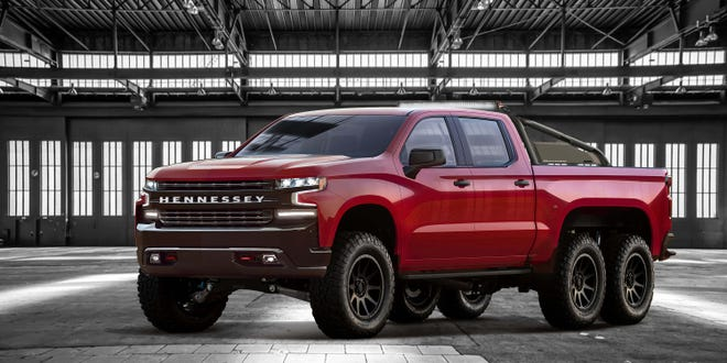 The Hennessey Goliath is a six-wheel-drive, 705-horsepower, V-8 powered mega-pickup based on the new Chevy Silverado. The beast starts at $375,000, can be upgraded to 808 horsepower, and will have a production run of 24.
