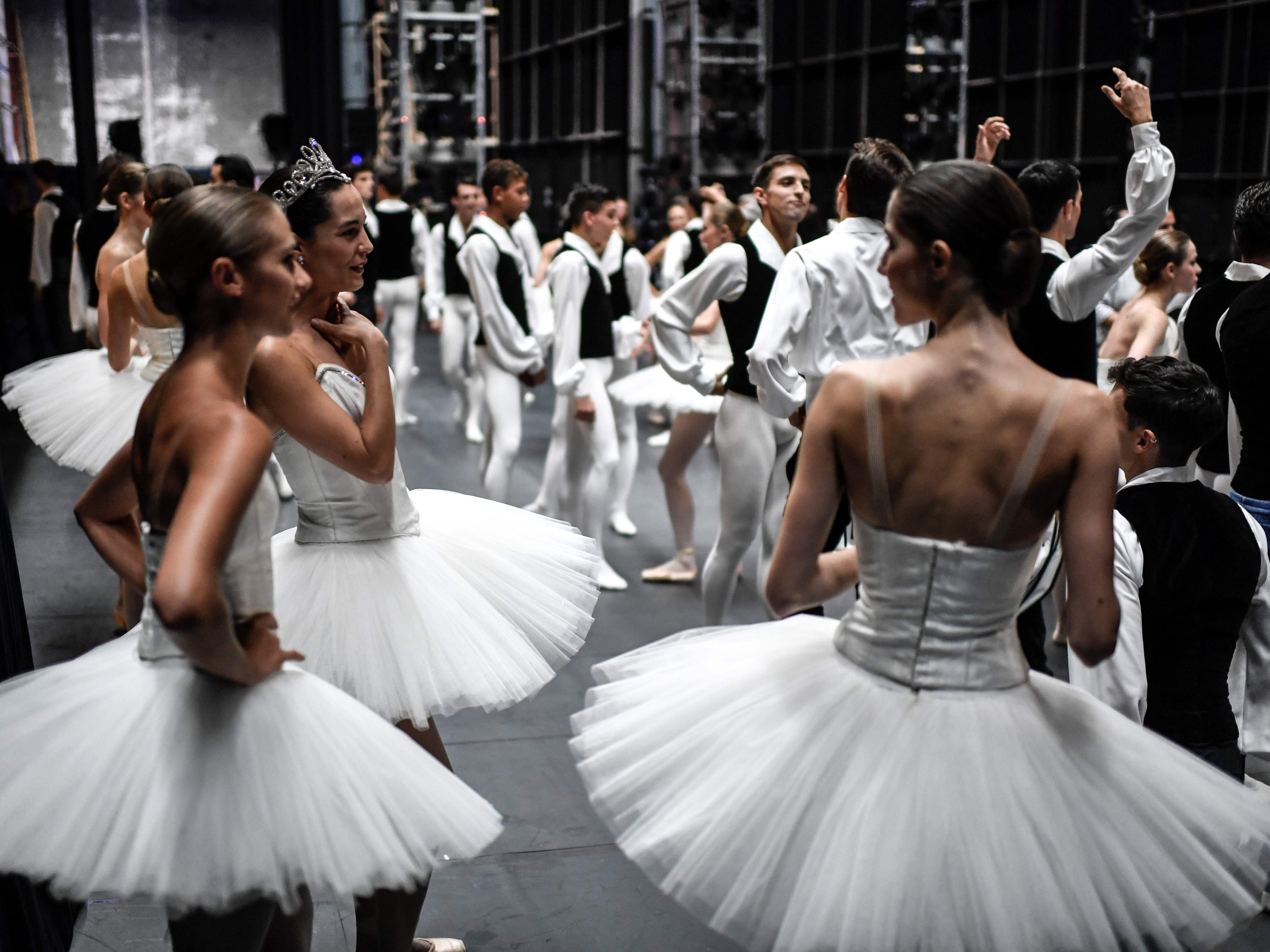 Dancers get ready on Sept. 27, 2018, prior to the annual gala at the Opera Garnier in Paris.
