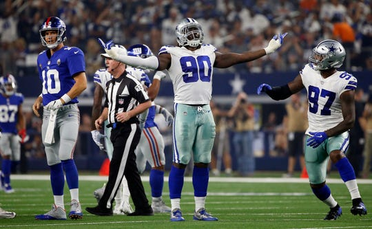 Dallas Cowboys defensive end Demarcus Lawrence (90) has 2.5 sacks through the first three games.