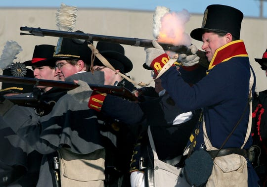 Battlefield re-enactors commemorate the  the Battle of the River Raisin every January in Monroe, Michigan.