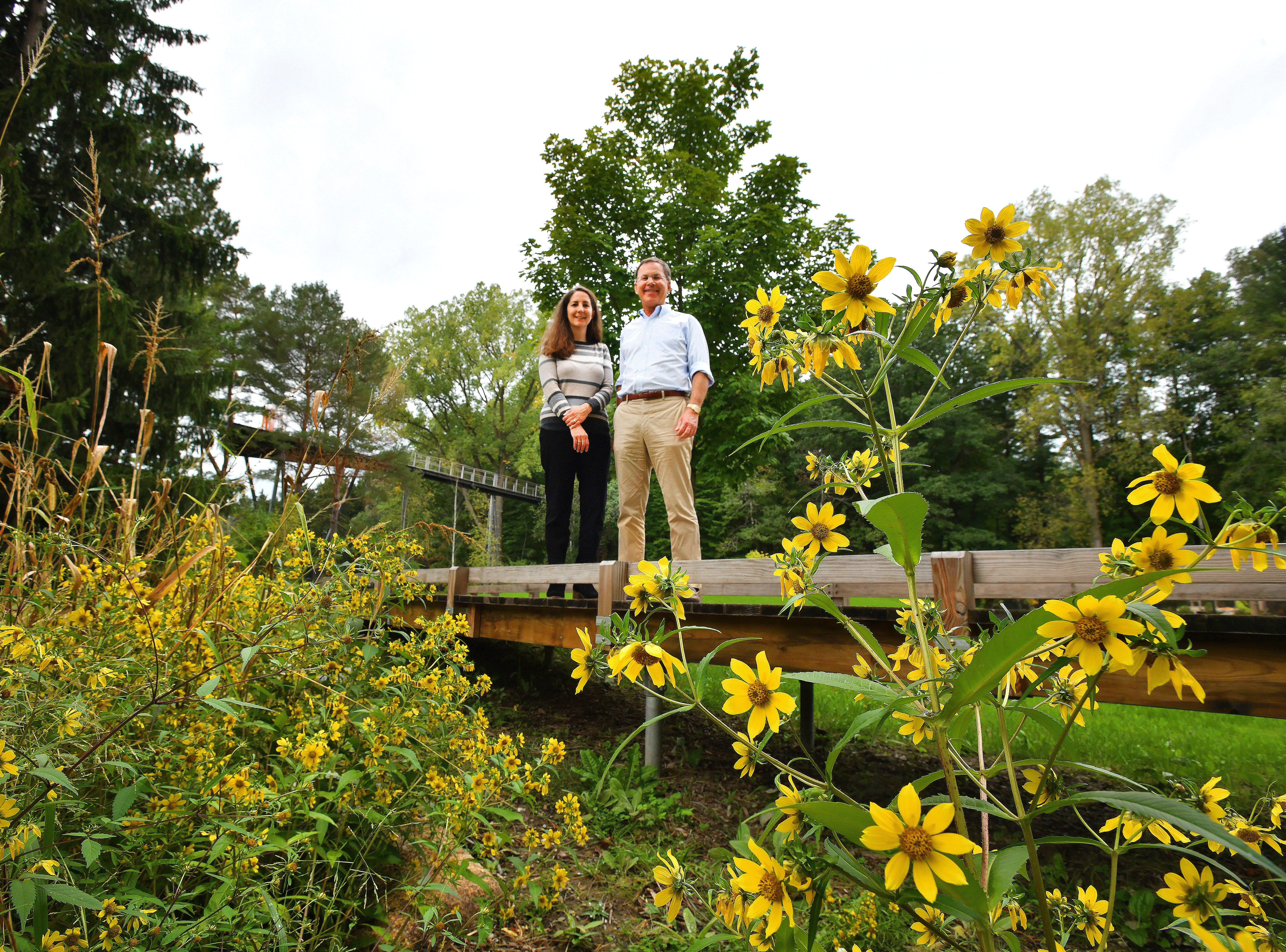 """Elizabeth Lumbert, director of Dow Gardens and Mike Whiting, president of the Dow Foundation, enjoy the view from a small bridge in Whiting Forest.  Behind them, the """"Orchard Arm"""" of the Canopy Walk looms 42 feet above the ground.  The Canopy Walk also has a """"Spruce Arm"""" and a """"Pond Arm."""""""