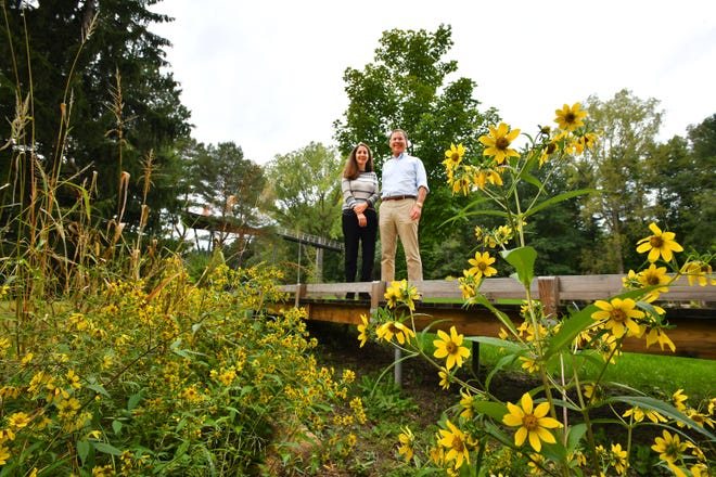 "Elizabeth Lumbert, director of Dow Gardens and Mike Whiting, president of the Dow Foundation, enjoy the view from a small bridge in Whiting Forest.  Behind them, the ""Orchard Arm"" of the Canopy Walk looms 42 feet above the ground.  The Canopy Walk also has a ""Spruce Arm"" and a ""Pond Arm."""
