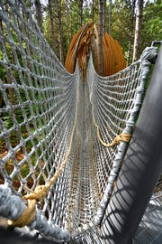 "A rope bridge stretches from the hard walk to a ""pod"" in  Dow Gardens' new Canopy Walk in Midland."