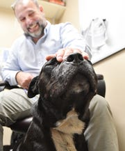 New Detroit Animal Care and Control director Charles Brown in his office with a dog the shelter picked up and is now up for adoption in Detroit.