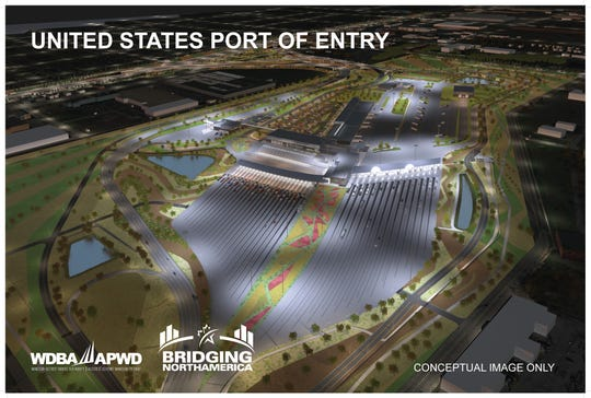 A rendering shows an aerial view of the U.S. port of entry and customs plaza.