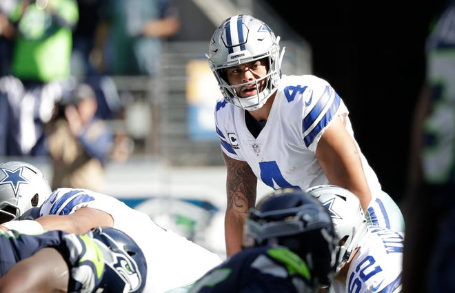 Dak Prescott's quarterback rating is 74.9 through the first three games this season for the Dallas Cowboys.
