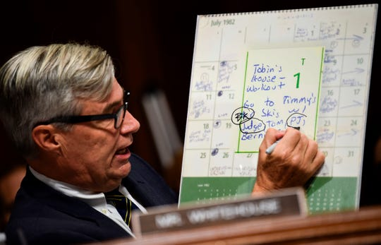 Senate Judiciary Committee member Sen. Sheldon Whitehouse (D-RI) points out names on the high school calendar of Brett Kavanaugh during a hearing Friday on Kavanaugh's nomination to the Supreme Court.