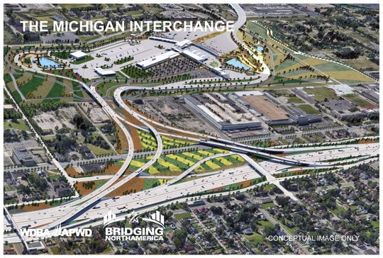 A rendering shows an aerial view of the Michigan interchange of the Gordie Howe International Bridge.