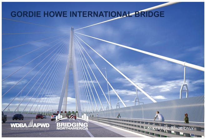 A rendering of the Gordie Howe International Bridge includes a lane for bicycles and pedestrians.