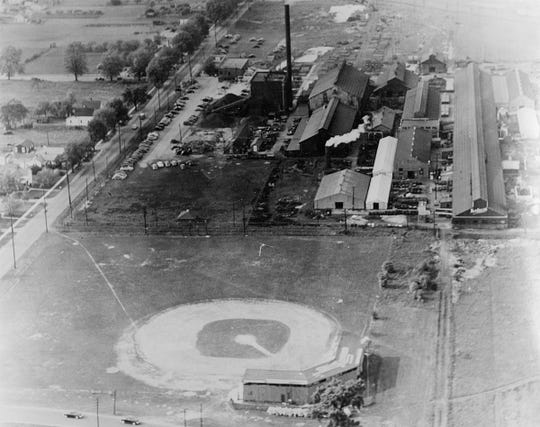Herbrand Field, near the corner of Stone and Napoleon streets, was the home field for the Fremont Reds and Fremont Green Sox baseball teams. Herbert Wolfe took this photo in 1942 from a plane piloted by Joe Binder.