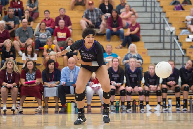 Fort Collins' Trinity Corney watches as the ball passes her on the court during a game against Rocky Mountain High School on Thursday, September 27, 2018.