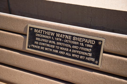 A bench dedicated to Matthew Shepard sits on the University of Wyoming campus in Laramie on Thursday, September 13, 2018. Shepard, a gay student at the university, died in 1998 after being attacked and beaten by Aaron McKinney and Russell Henderson.