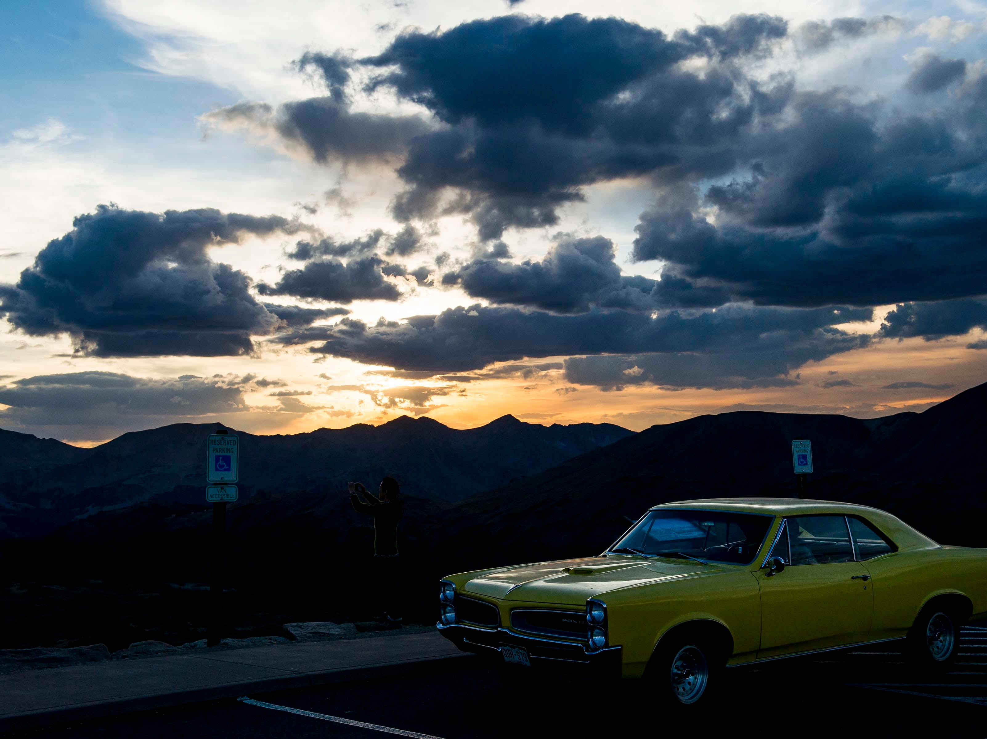 A second generation Pontiac Tempest stops at the Gore Range Overlook on Sunday, Sept. 23, 2018, at Rocky Mountain National Park in Colo.