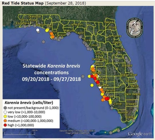 The Sept. 28 Florida Fish and Wildlife Conservation Commission shows patchy red tide off Lee County.