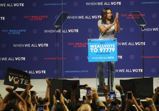 Michelle Obama speaks at the When We Vote event at Watsco Center at the University of Miami in Miami FL, on Friday 9/28/2018.