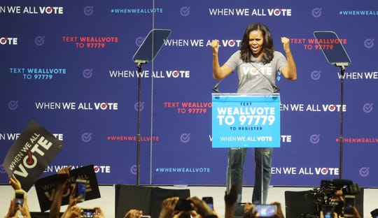 Michelle Obama speaks at the When We All Vote rally at the Watsco Center at the University of Miami on Friday 9/28/2018.