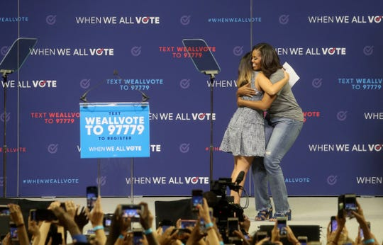 Michelle Obama takes the stage at When We Vote Event at the Watsco Center at University of Miami on Friday, Sept. 28, 2018.