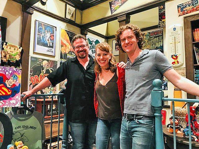 """Salvage"" playwright Joseph Zettelmaier, left, with Melanie Keller and Matt Holzfeind, the stars of the Peninsula Players production."