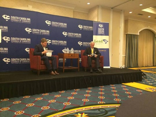 Republican S.C. Gov. Henry McMaster addressed a gathering of young professionals Thursday, Sept. 27, 2018, during a S.C. Chamber of Commerce summit. Democratic Lt. Gov. candidate Mandy Powers Norrell also addressed the group.