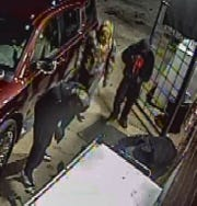 Photos of suspects in a robbery and attack on a store owner and his wife captured from video surveillance outside W.E. Willis Grocery on Highway 414.