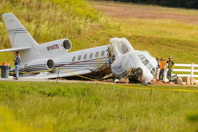 On Friday morning, September 28, 2018 investigators from the NTSB continue to look into a jet that crashed upon landing at the Greenville Downtown Airport on Thursday.