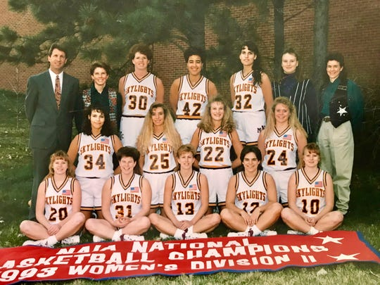 The 1993 Montana State-Northern women's basketball team, coached by Sherry Winn, won the NAIA national championship. Among the team's starters were Charna Ophus (No. 22) and Kari Fike (20).