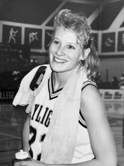Charna Ophus was all smiles in 1993 moments after the Montana State-Northern Skylights won the NAIA national championship.