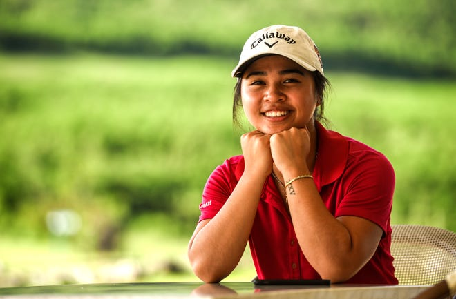 Guam's best female golfer, Nalathai Vongjalorn, relaxes in the shade at the Country Club of the Pacific clubhouse in Ipan, Talofofo on Friday, Sept. 28, 2018.