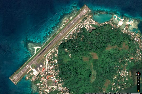 An aerial view of the Chuuk International Airport located in the northern portion of Weno, the main island of the State of Chuuk in the Federated States of Micronesia.