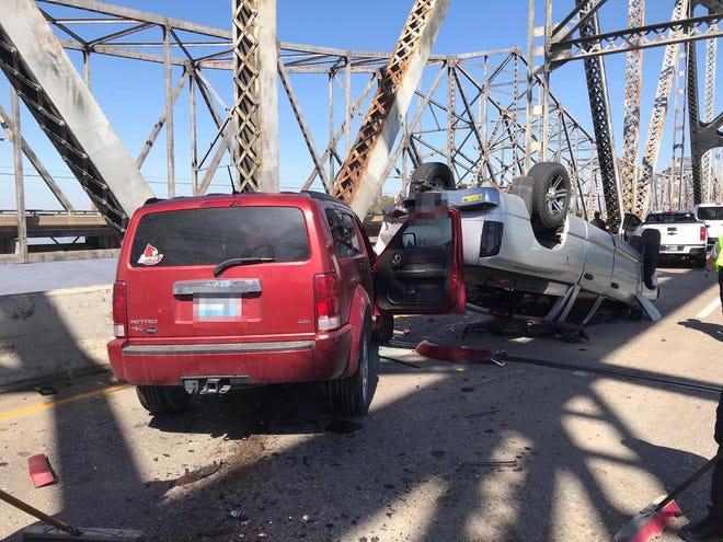 A two vehicle crash on the NB bridge.