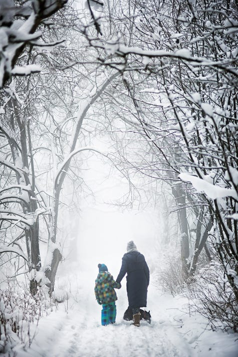 Stock image: Adult and child holding hands and walking in winter weather.