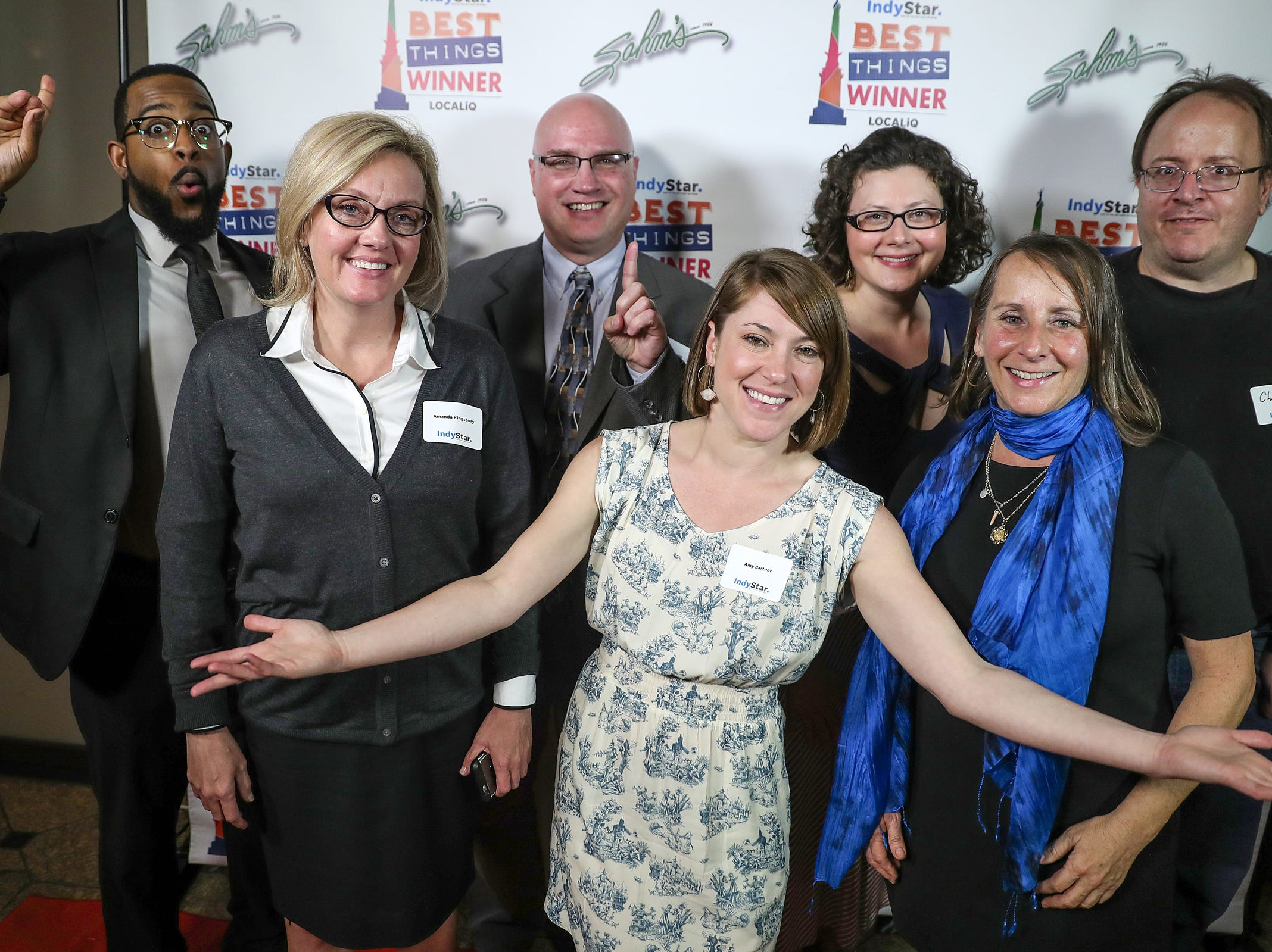 From left, IndyStar's Justin Mack, Amanda Kingsbury, Dave Lindquist, Amy Bartner, Domenica Bongiovanni, Liz Biro and Channing King pose for a picture during the inaugural Best Things Indy 2018 award ceremony, held by IndyStar at One America Tower in Indianapolis, Thursday, Sept. 27, 2018.