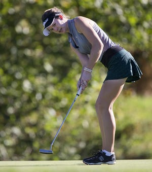 FILE – Westfield's Jocelyn Bruch leads the IHSAA girls golf state finals after Day 1.