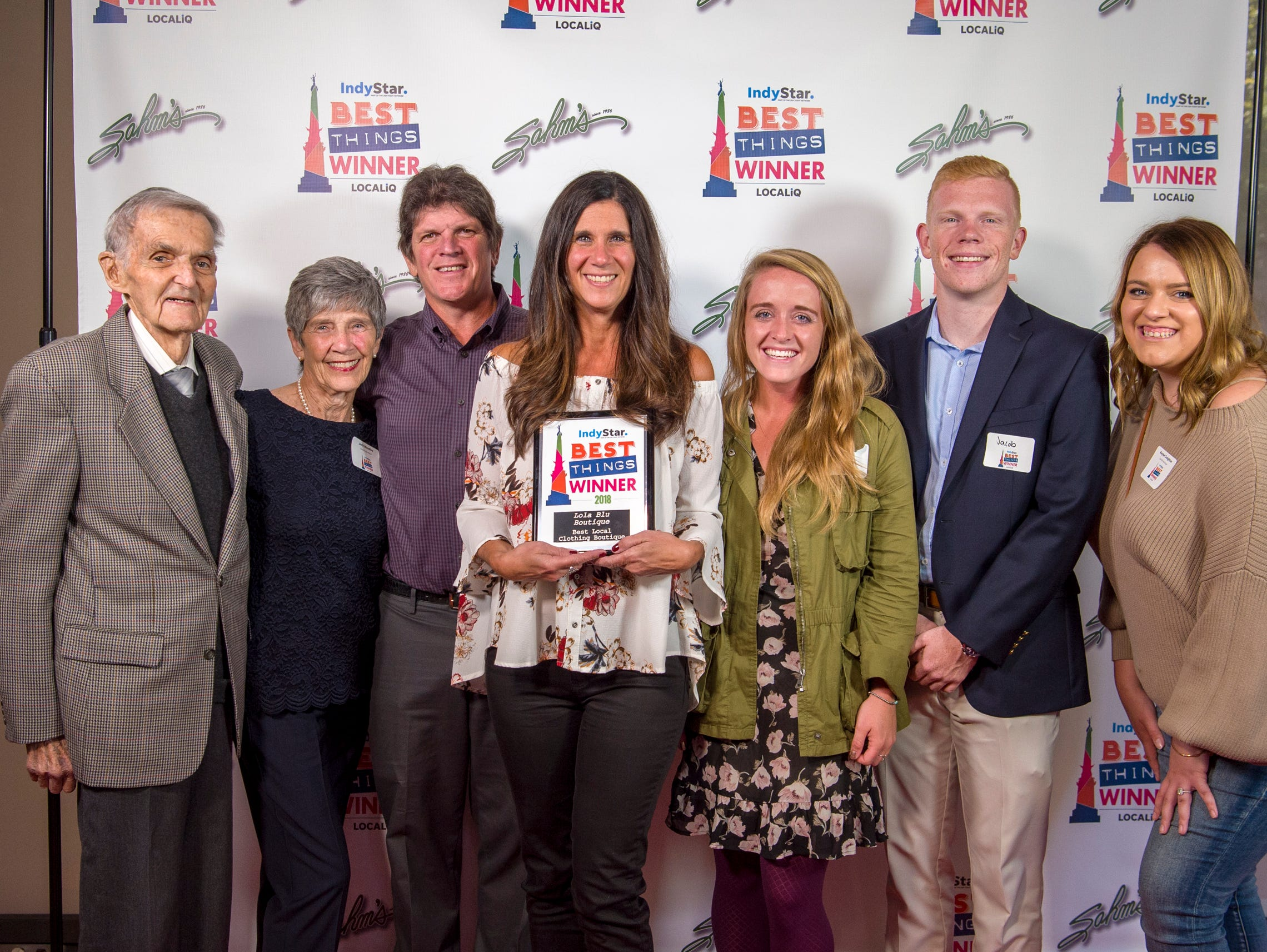 Best Things Indy 2018 award winners and their friends and family pose for a photo during the award ceremony at One America Tower in Indianapolis, Thursday, Sept. 27, 2018.