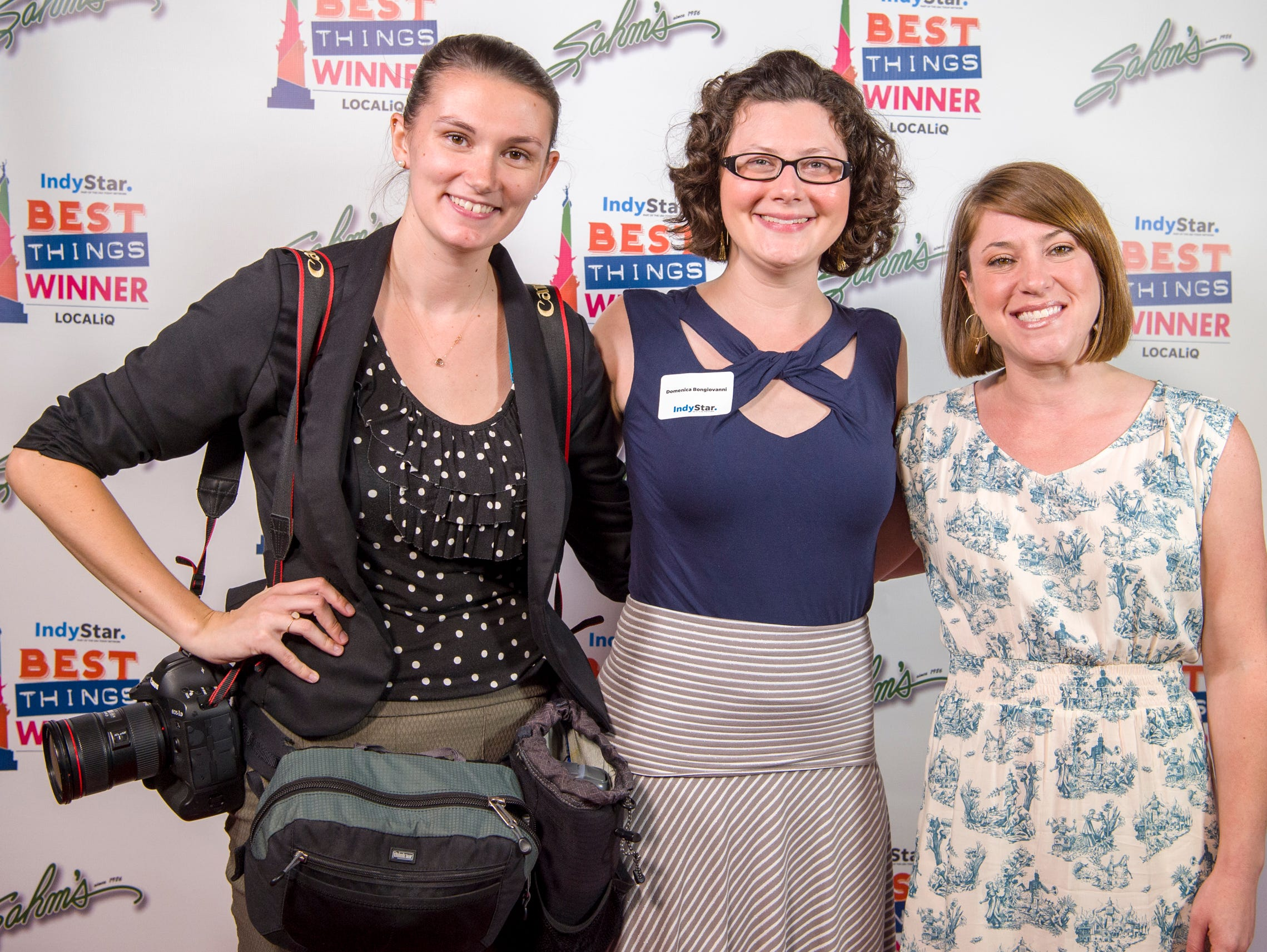 IndyStar's Jenna Watson, Domenica Bongiovanni and Amy Bartner pose for a photo during the award ceremony at One America Tower in Indianapolis, Thursday, Sept. 27, 2018.