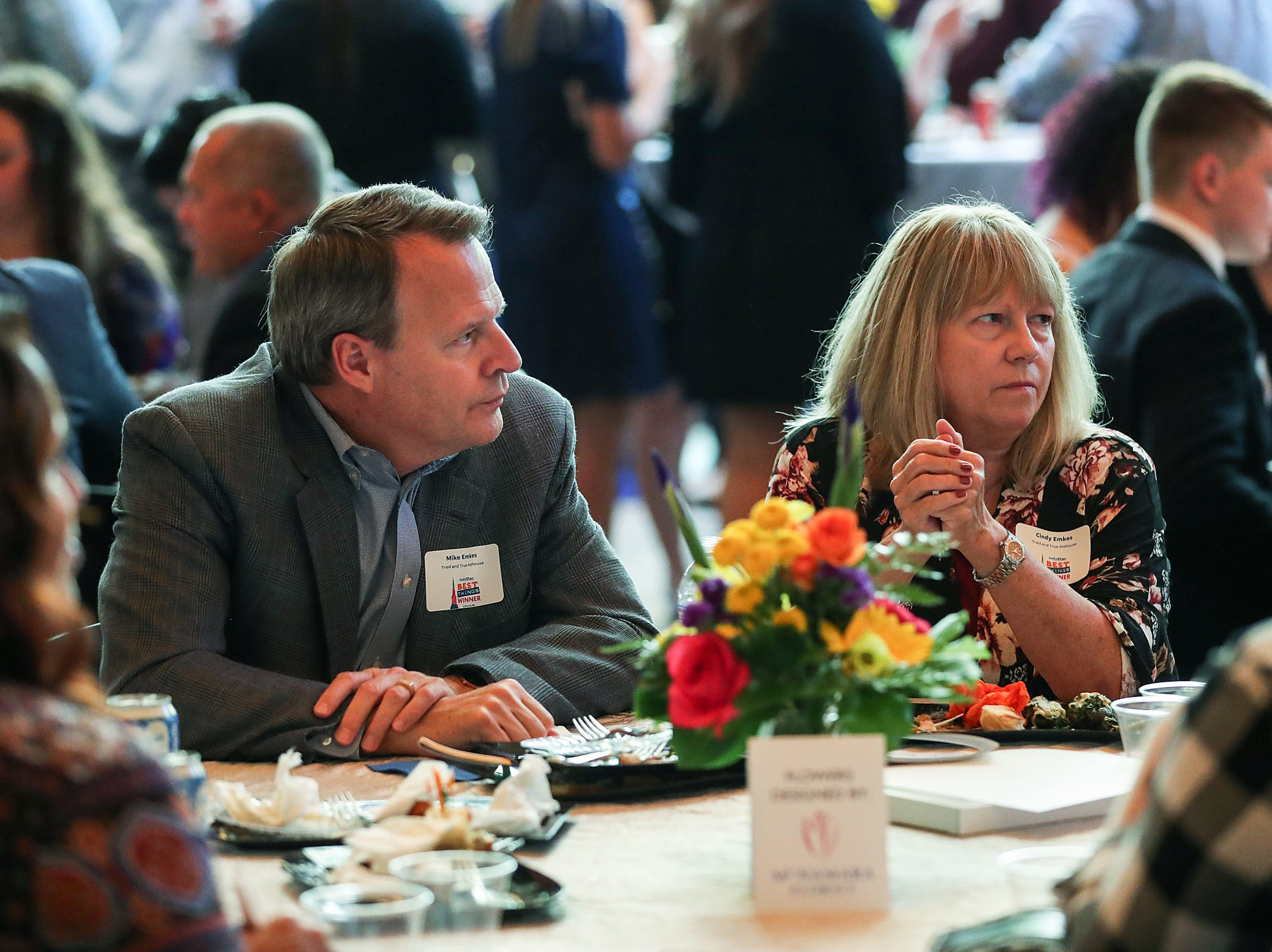 Award winners and their family and friends enjoy the inaugural Best Things Indy 2018 award ceremony, held by IndyStar at One America Tower in Indianapolis, Thursday, Sept. 27, 2018.