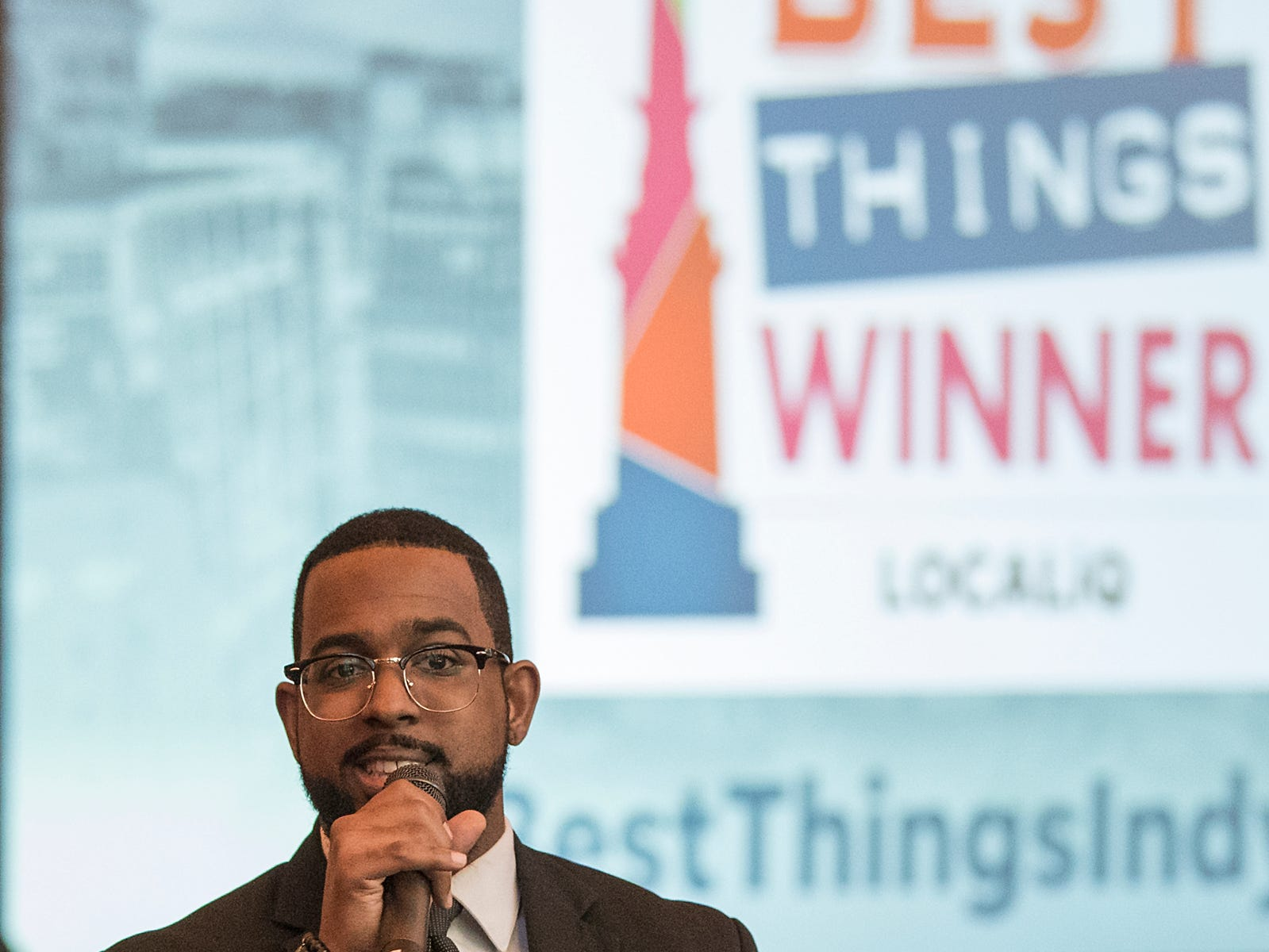 IndyStar reporter Justin Mack hosts the inaugural Best Things Indy 2018 award ceremony, held by IndyStar at One America Tower in Indianapolis, Thursday, Sept. 27, 2018.