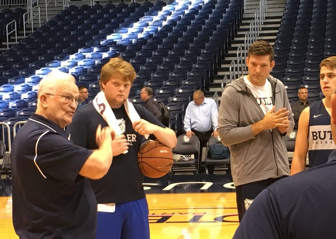 Former Butler great Bobby Plump (left) addressed the Bulldogs during their first practice of the 2018-19 season.