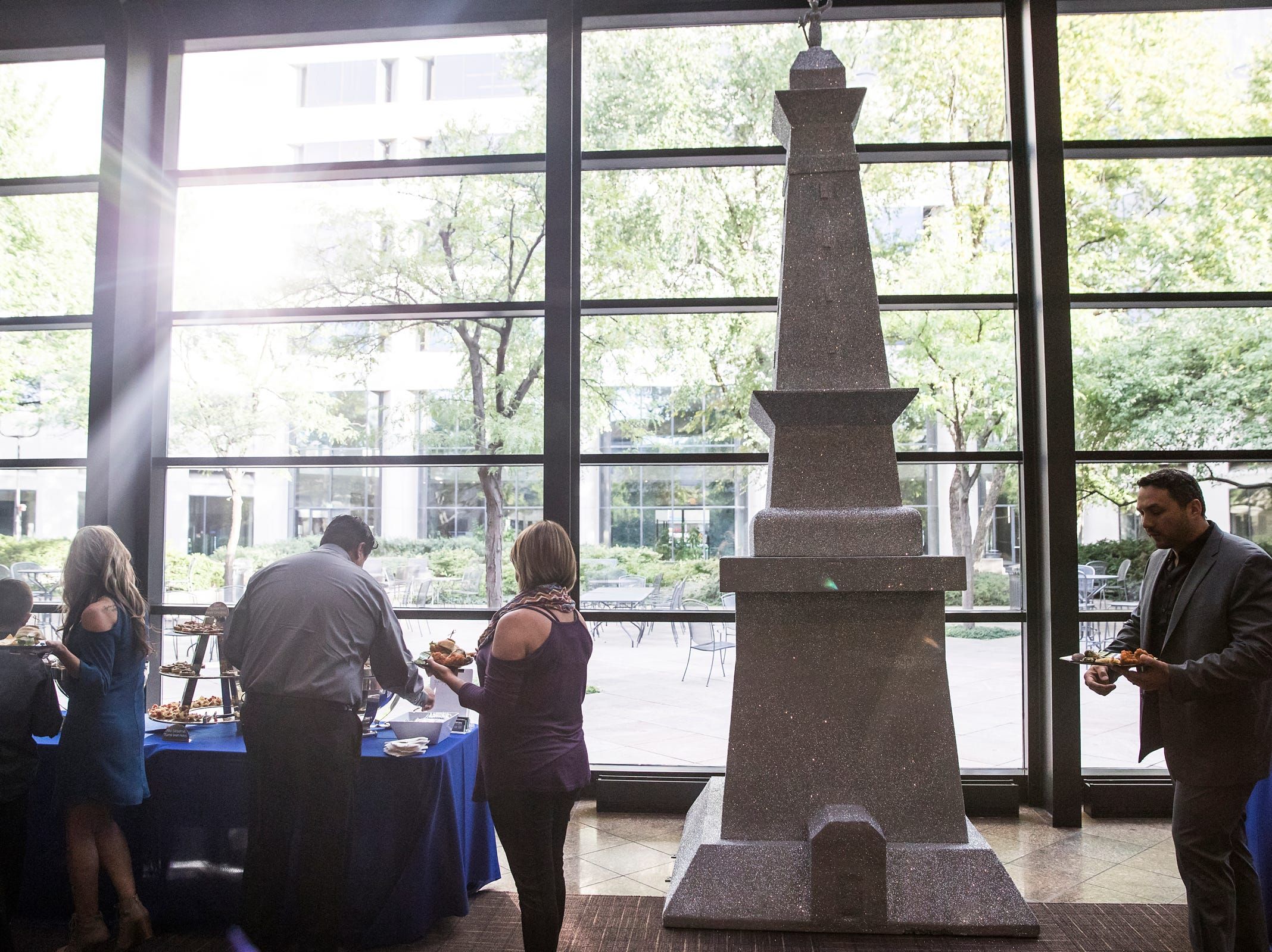 A glittery Soldiers and Sailors Monument is on display during the inaugural Best Things Indy 2018 award ceremony, held by IndyStar at One America Tower in Indianapolis, Thursday, Sept. 27, 2018.