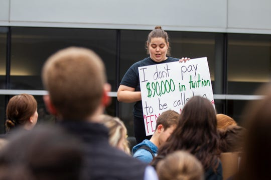 Anne Carter speaks during protest against Supreme Court nominee Brett Kavanaugh on Friday, Sept. 28, 2018, outside the Boyd Law Building on the University of Iowa campus in Iowa City.