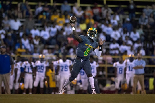 Sophomore starting quarterback Ty Keyes launches a football in the first quarter of a home game against archrival Bay Springs Bulldogs.  The Taylorsville Tartars returned from a rough first half to close the night 35-14. Thursday, Sept. 27, 2018.