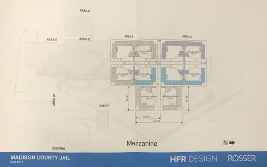 This schematic depicts the mezzanine of the proposed CJC expansion. If fully funded, the expansion will include areas A and B in addition to both areas of additional housing pictured at the bottom right. In the least expensive option, the additional housing units will not be built.