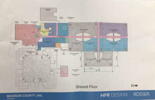 The proposed expansion of the Criminal Justice Complex is shown in color, while the existing building is outlined in black and white at the bottom left. This schematic depicts the full $49.5 M expansion option, which would add 524 beds to the existing facility.