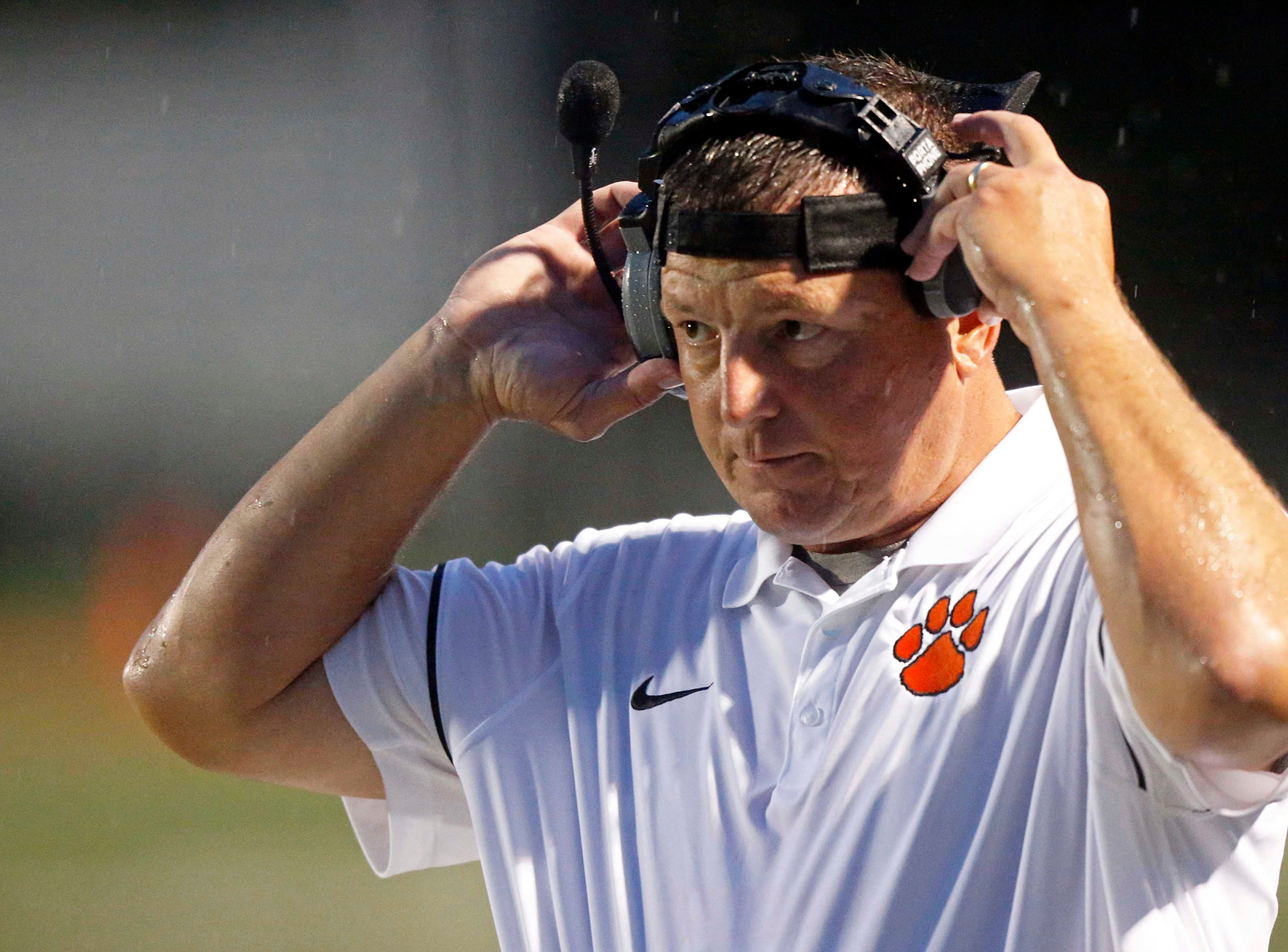 Powell head coach Matt Lowe is seen during their game against Campbell County Thursday, Sept. 27, 2018, in Knoxville, Tenn.