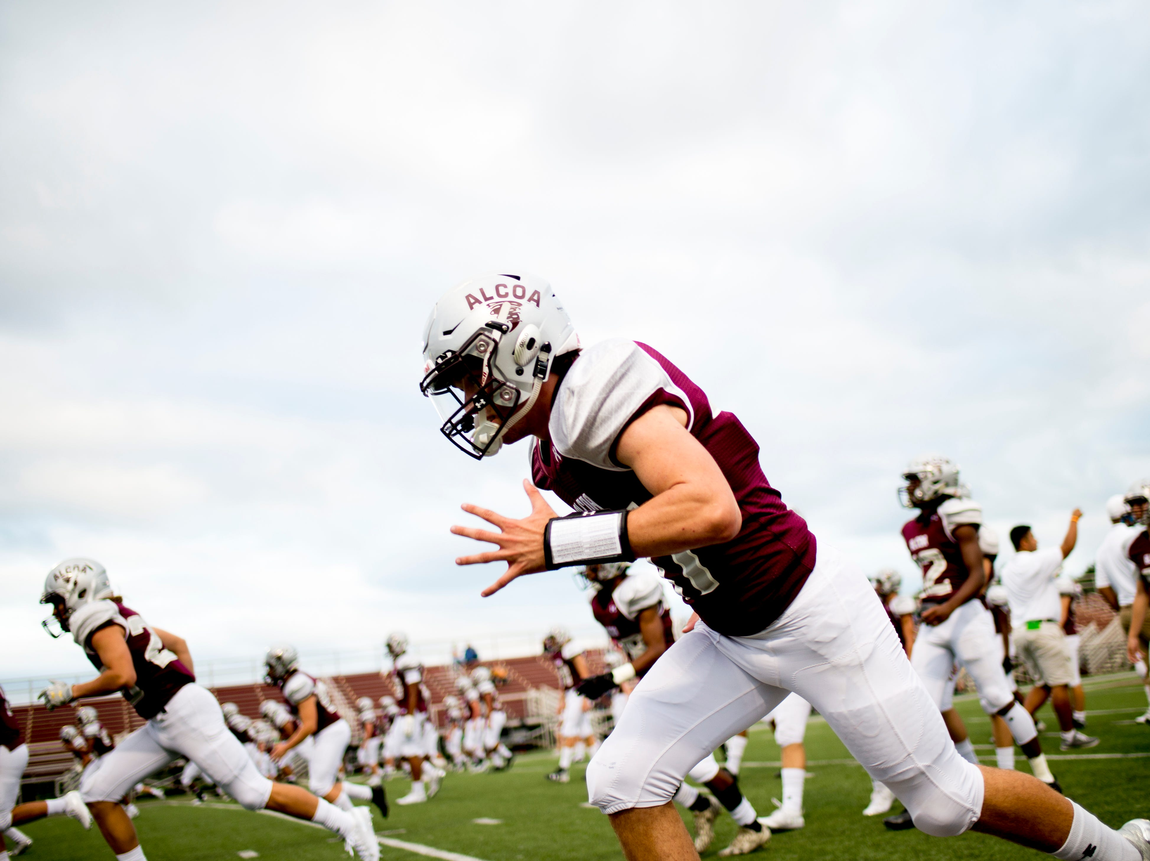 Alcoa warms up on the field during a game between Alcoa and Northview at Alcoa High School in Alcoa, Tennessee on Friday, September 28, 2018.
