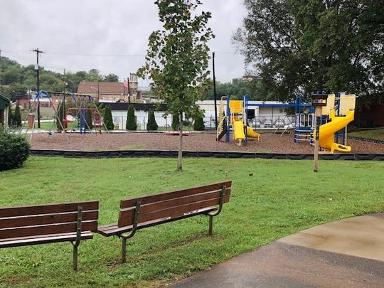 The current teacher seating area on the school playground.
